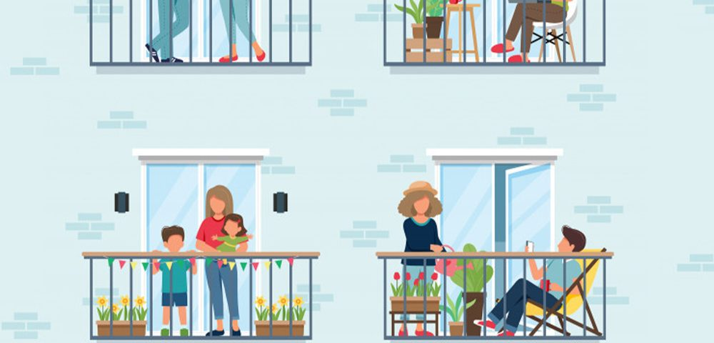 Covid-19 families on porch graphic and post