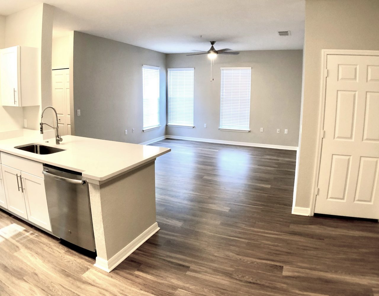 Windermere apartments renovated floor with kitchen and living room