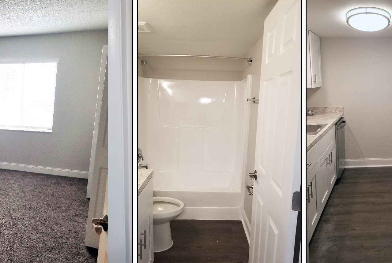 Renovated bathroom, bedroom, and kitchen